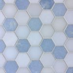 2 Inch Hexagon Thassos Azul Celeste Paper White