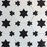8 Inch Hexagon Star 13 Black White