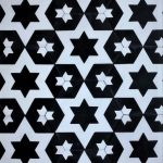8 Inch Hexagon Star 14 Black White