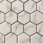 Recycled Glass Hexagon Calacatta 2 Inch, 1 Inch