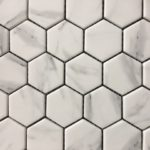 Recycled Glass Hexagon Carrara 2 Inch, 1 Inch
