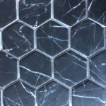 Recycled Glass Hexagon Nero Marquina 2 Inch, 3 Inch