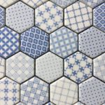 Recycled Glass Hexagon White Blue Mix 2 Inch