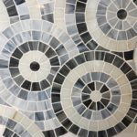 Stained Glass Gray Concentric Circles