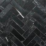 1X3 Herringbone Nero Marquina Honed Polished