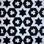 8 Inch Hexagon Star 14 Black White