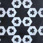 8 Inch Hexagon Star 15 Black White
